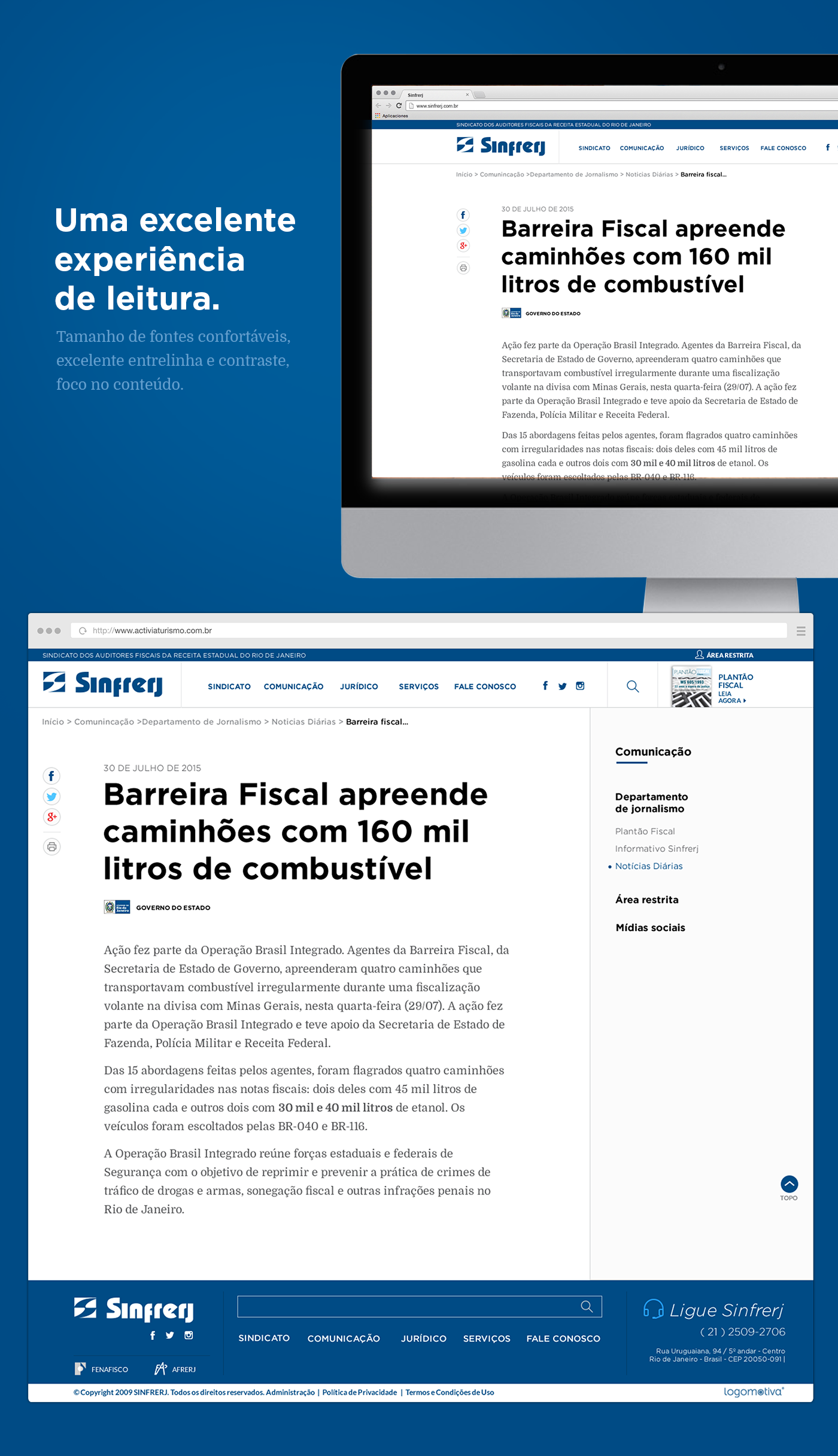 Layout do website do Sindicato dos Fiscais de Renda