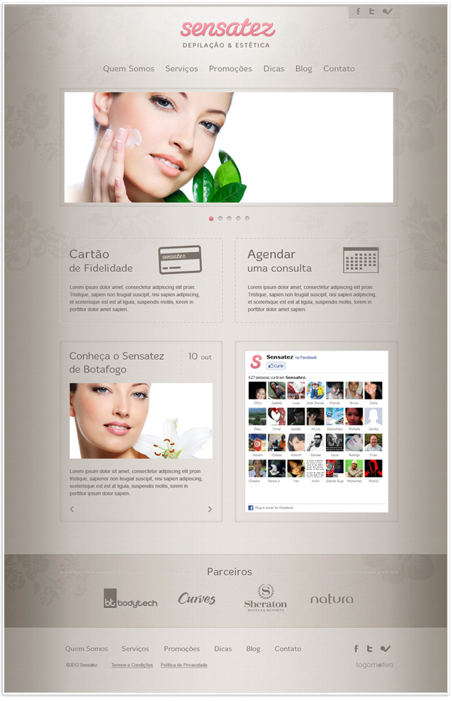 Layout Website da Sensatez